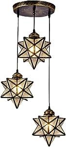 RUNNUP Clear Glass Star Pendant Light Fixture Charming 3 Lights Creative Chandeliers Adjustable Vintage Pendant Light Fixture for Kids Room, Restaurant,Bar,Cafe