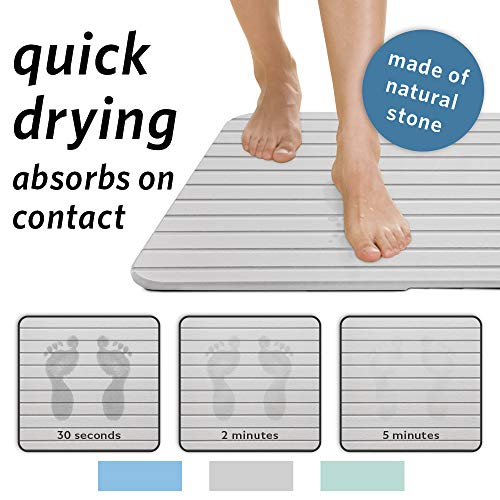 Microdry All Natural DryStone Quick-Drying Bath Mat, 16x24, Grey