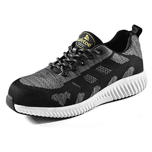 SAFETOE Work Composite Toe Shoes for Men Women Safety Sneaker Shoes Lightweight Industrial & Construction Shoe Gray/White