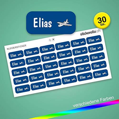 Stickerella - 30 Namensaufkleber für Kinder - Namensetiketten für Schule und Kindergarten, personalisierbar, permanent, wasserfest (11 x 26 mm) (dunkelblau)