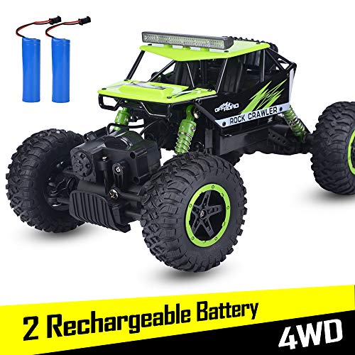 RC Car, NQD Remote Control Monster Truck, 2.4Ghz 4WD Off Road Rock Crawler Vehicle, 1:16 All Terrain Rechargeable Electric Toy for Boys & Girls Gifts (Green)