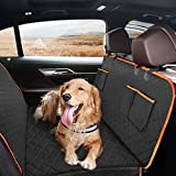 Dog Seat Cover for Back Seat, Waterproof Dog Hammock Scratchproof Pet Seat Covers with 4 Bags Side Flaps & 2 Dog Seat Belts, Washable Nonslip Seat Protector for Cars Trucks and SUVs