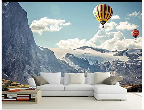 WH-PORP Papel tapiz fotográfico 3D Papel tapiz de murales en 3D para las paredes 3 D La nieve de la montaña Nube flotante de color Globo Subida Pinturas de paisajes-400cmX280cm
