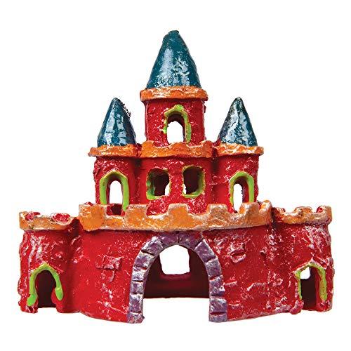 GloFish Castle Ornament, Small, Colorful aquarium Decor, Hideaway For Fish, Multicolor