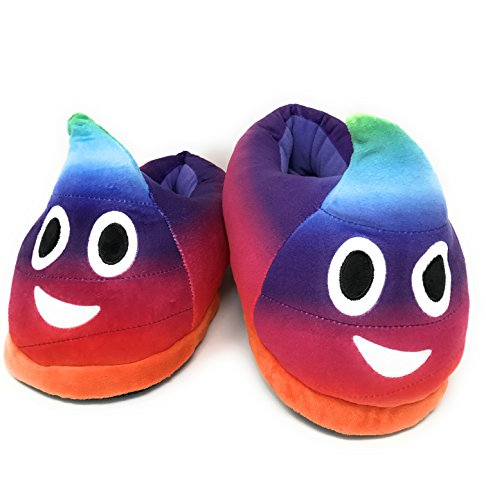 Desire Deluxe Zapatillas Arco Iris Casa Invierno con Figura de Emojis en Forma de Caca Sonriente - Pantunflas Invierno de Talla Universal para Hombre, Mujer, Niño y Niña