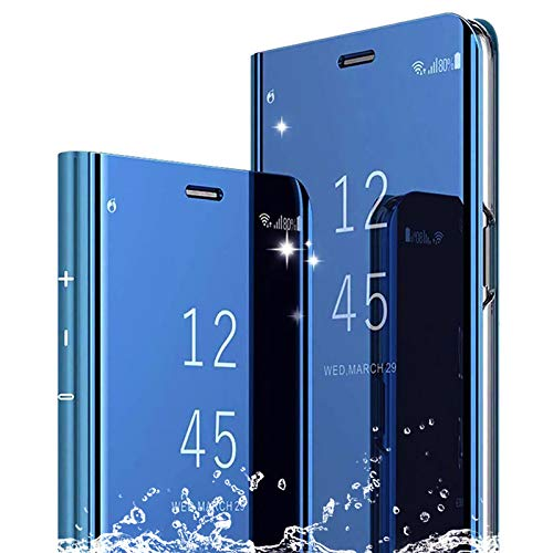 NUONA Hülle für XiaoMi RedMi Note 8 Pro Handyhüllen,Flip Handy Hülle Cover Superdünn PU+PC Schutzhülle Transluzent View Spiegel Anti-Schock Hülle mit Standfunktion für XiaoMi RedMi Note 8 Pro,Blau