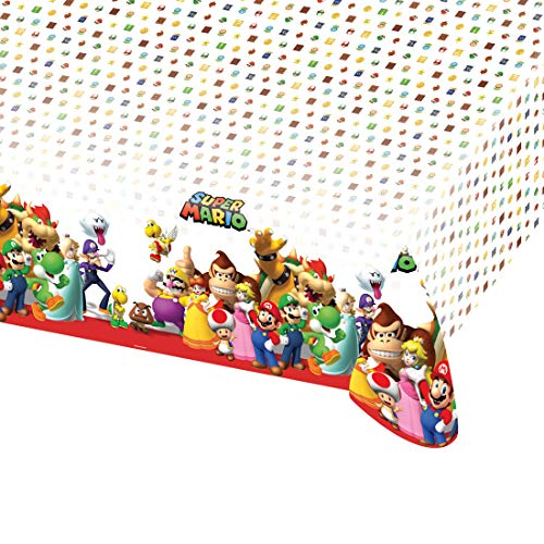 NET TOYS Nappe de Table Super Mario Brothers | 120 x 180 cm | Décoration de fête Originale Nappe de Table | Idéal pour Anniversaire d'enfants & fête d'enfants