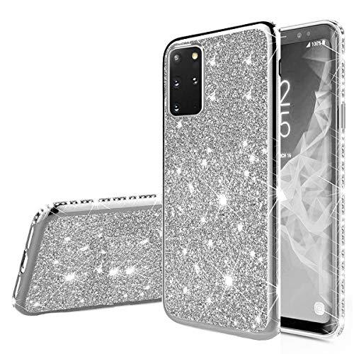 Nadoli Glitzer Hülle für Galaxy S20 Plus,Ultradünne Funkeln Skin Weich Diamant Überzug Rahmen Glänzend Silikon Strass Etui Handyhülle Schutzhülle für Samsung Galaxy S20 Plus