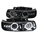 Spec-D Tuning Smoke Halo Led Projector Headlights for 1999-2006 Chevy Silverado Tahoe Suburban Head Light Assembly Left + Right Pair