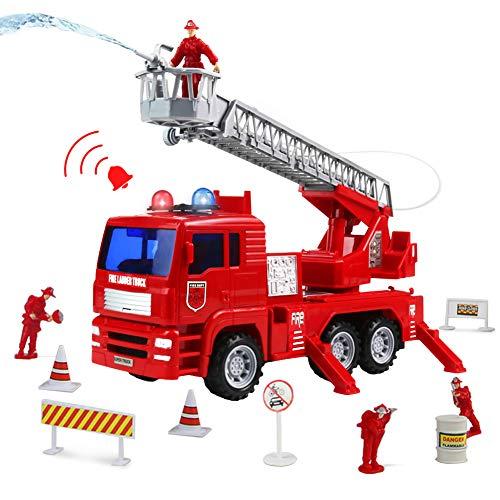 Symiu Feuerwehrauto Feuerwehr Feuerwehrmann mit Wasserpumpe und Licht Fahrzeug LKW Auto Spielzeug Geschenk für Kinder Jungen Mädchen ab 3 4 5 6 Jahre Jungen und Mädchen (MEHRWEG)