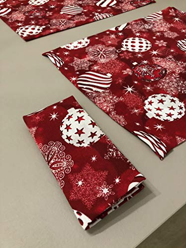 1KDreams - Juego de 4 servilletas de Navidad con diseño de bolas de estrellas decorativas. Shabby Chic en llave moderna....