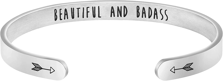 Inspirational Mantra Cuff Bracelets Ranking TOP2 Award-winning store Women for Friend Encourageme