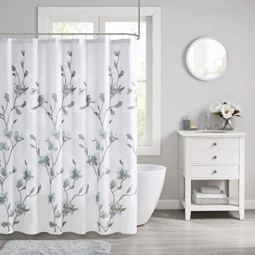 "Madison Park Bathroom Shower, Magnolia Floral Design Modern Shabby Chic Privacy Bath Fabric Curtains, 72""x72"", Aqua"
