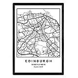 Nacnic Lámina Mapa de la Ciudad Edinburgh Estilo nordico en Blanco y Negro. Poster tamaño A3 Sin Marco Impreso Papel 250 gr. Cuadros, láminas y Posters para Salon y Dormitorio