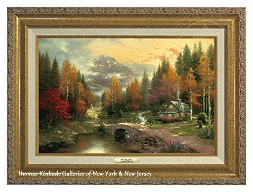 "Thomas Kinkade Valle de la Paz 12""X 16"" canvas Classic, Gold Frame, 21.5Lx17.5H"