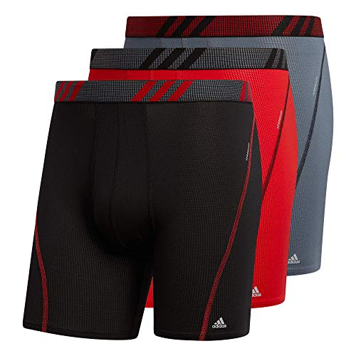 adidas Men's Sport Performance Mesh Boxer Brief Underwear (3-Pack), Black/Scarlet/Onix Scarlet/Black/Onix Onix/Black/S, Medium