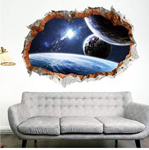 Weltraum Planet Wandaufkleber für Kinderzimmer 3D-Effekt Landschaft Home Decor Galaxy Wandtattoos Wohnzimmer Dekoration