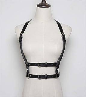 Amosfun Gothic Harness Lingerie Bra Body Harness Caged Bra Cosplay esotico con cinturino Bralette per le donne nere