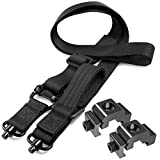 HANAMO QD Sling 2 Point Sling Quick Adjust Rifle Sling with QD Sling Swivels and 2 PCS Picatinny QD Sling Mount, Picatinny Rail Accessories Sling Attachment Quick Release Sling with Fast Thumb Loop