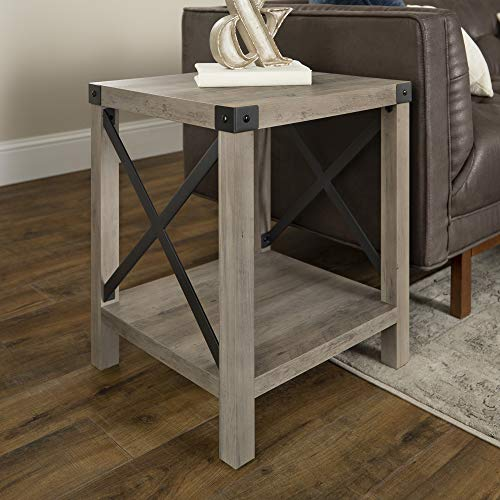 Walker Edison Furniture Company Rustic Modern Farmhouse Metal and Wood Square Side Accent Living Room Small End Table, 18 Inch, Gray Wash