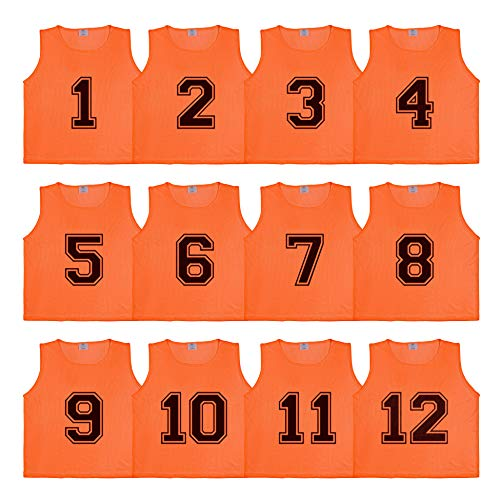Athllete DURAMESH Set of 12- Scrimmage Vest/Pinnies/Team Practice Jerseys with Free Carry Bag. Sizes for Children, Youth, Adult and Adult XXL (Flame Orange Numbered, Medium)