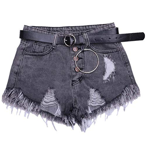 DAIDAICDK Zomer Hot Shorts Hoge Taille Gat Denim Shorts Vrouwen Plus Size Brede Been Korte Broek Slim Tassel Shorts