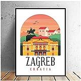 HDKSA Retro Vintage Zagreb Leinwand Malerei Kunstdruck