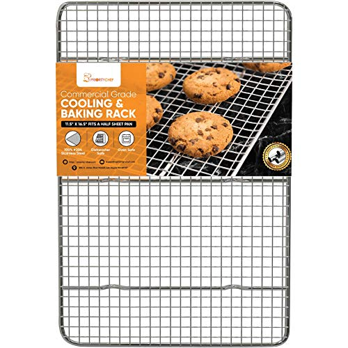 PriorityChef Cooling Rack, Wire Baking Rack for Oven Cooking, 11.5'x16.5' Fits Half Sheet Pan, Thick Commercial Grade SS304 Grill and Oven Bacon Rack