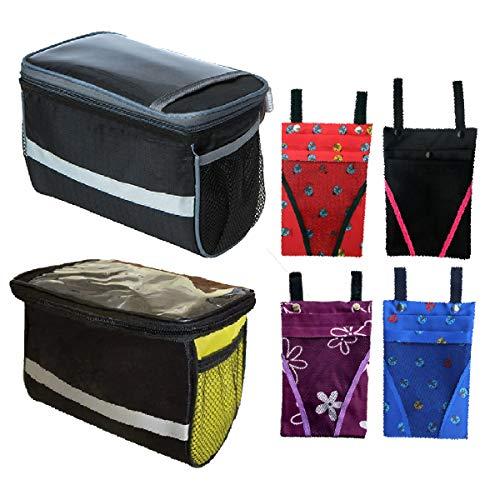 Xumier 6pcs Bolsa para Manillar Bici Cuadro Tubo Superior Impermeable Delantero + Bolsa para Colgar Bicicletas Canasta de Bicicletas para Ciclismo al Aire Libre
