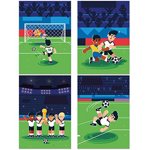 ChicResult Wandbilder 4er Set Fussball Wandposter - Wanddeko für Jungs Kinderzimmer - Kinderposter, Kinderbilder, Jugendzimmer Deko (DIN A4 ohne Bilderrahmen)
