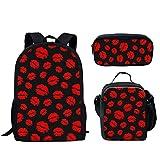 Hugs Idea Sac à dos 15/43,2 cm Coloré Animal Coloré Léger Sac d'école pour adolescents, garçons et filles, Sac à livres pour l'école primaire Lèvres rouges. 17 inch (3PCS Set)