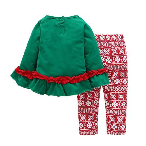 Hui.Hui Ensemble Noel Fille Dessin Animé Imprimé Barboteuse T-Shirt Blouse Manches Longues + Pantalons Tenues Enfant Automne Chemise Anniversaire Fête Vêtements