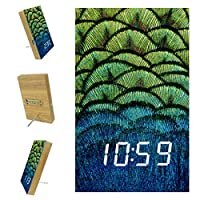 寝室用デジタル目覚まし時計キッチンオフィス3アラーム設定ラジオウッドデスククロック-ピーコックフェザー