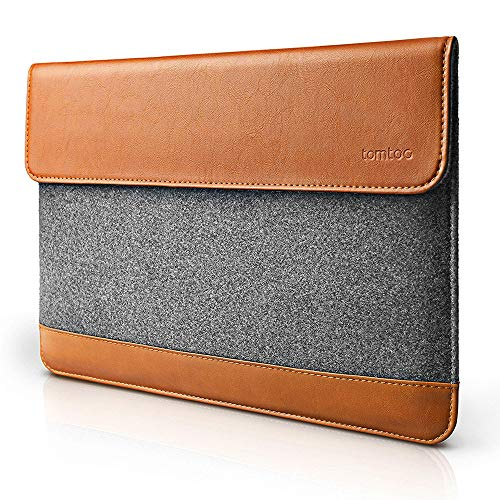 tomtoc Slim Laptop Sleeve for 15-inch MacBook Pro with Touch Bar Late 2016-2020 A1990 A1707, Felt & PU Leather Protective Case Cover Bag with Accessory Pocket