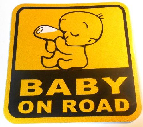 PRESKIN Bébé Doux à Bord Autocollant pour Voiture, fenêtres, Portes, Auto- adhésif Autocollants de sécurité (BabyOnRoadOrangeBlack)