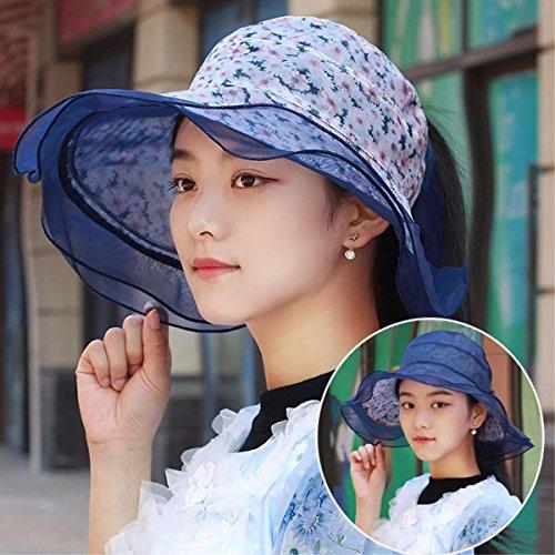 YXLMZ Meine Damen Frauen Hüte Sommer Hüte Minzeblättchen und Ice-Woven Hat leer Top Hat Black-Horse Tail Cap Duplex-Einheit für Dell Blue/A