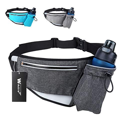 Hiking Fanny Packs for Women Men, Fanny Pack with Water Bottle Holder, Running Hydration Belt Bags Reflective Waist Bag for Walking, Travel, Cycling (Black Grey Fanny Pack with Water Bottle Holder)