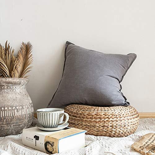 Nordic eenvoudige effen kleur linnen dubbel naaldkant sofa kussen koffiebar hotel sofa katoen en linnen kussen,Dark gray