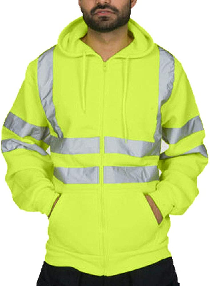 F_Gotal Mens Tops Road Work High Visibility Pullover Long Sleeve Hooded Sweatshirt Blouse Sports Hooded Sweatshirts