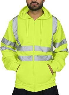 Sunward Stylish Coat for Men,Mens Road Work High Visibility Pullover Long Sleeve Hooded Sweatshirt Tops Blouse