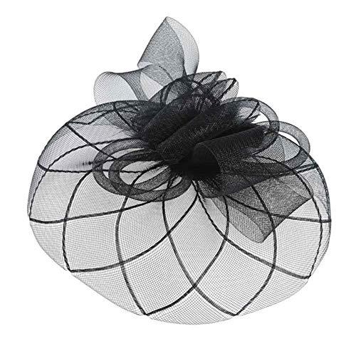 FHKGCD Fascinator Hat Sombrero De Fiesta con Velo De Red De Malla De Plumas Sombrero Derby De Flores con Clip Y Diadema para Mujeres Boda, Negro,