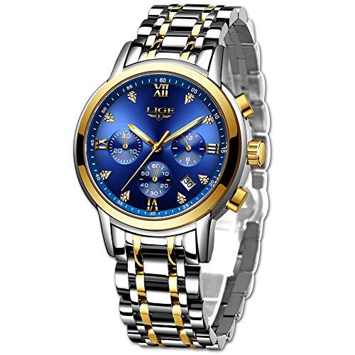 LIGE Reloj para Hombre Elegante Moda Cronógrafo Acero Inoxidable Reloj de Pulsera Deportivo Cuarzo Analógico Impermeable Multifunción Casual Reloj