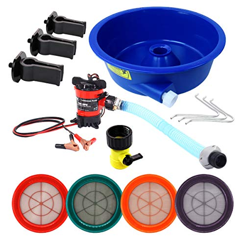 Blue Bowl Concentrator Deluxe Gold Prospecting Kit with Pump, Leg Levelers and 4 Classifiers Mesh 20, 30, 50 and 100