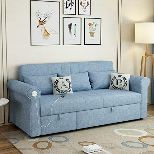 Office Couch Sofa, Living Room Sleeper Sofa Bed, Folding Lazy Sofa Bed with USB Charging Port,Comfortable And Breathable Fabric,Sturdy, Durable And Load-Bearing Sofa Solid Wood Frame,Blue