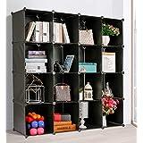 DANYI 本棚 大容量 スチール収納棚 改良型耐荷重スチールメッシュ堅固整理棚 ワイヤー収納ラック 組み立て式 衣類収納ボックス 自由DIY便利な ワードローブ (黒, 16ボックス)