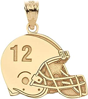 Sports Charms Certified 10k Yellow Gold Customized Football Helmet Pendant with Your Name and Number