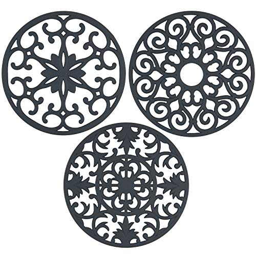 gasaré, Extra Large, Extra Thick, Silicone Trivets, Trivet Mat, Heat Resistant, Non-Slip, Dishwasher Safe, Round Design, for Hot Dishes and Kitchen Countertops, 10 x 3/8 inches, Set of 3, Grey