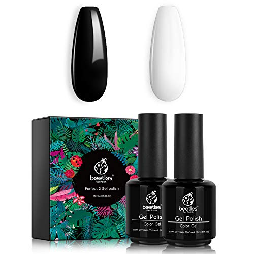 Beetles Gel Nail Polish Kit- 2 Pcs 15ml Black White Colors Gel Polish Set Soak Off UV LED Nail Gel Polish Nail Art Manicure Salon DIY at Home