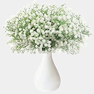 CHIBO 24Pcs Artificial Baby Breath Gypsophila Flower Bulk Fake Real Touch White Flowers Bouquets for Wedding Party Home Garden Decoration