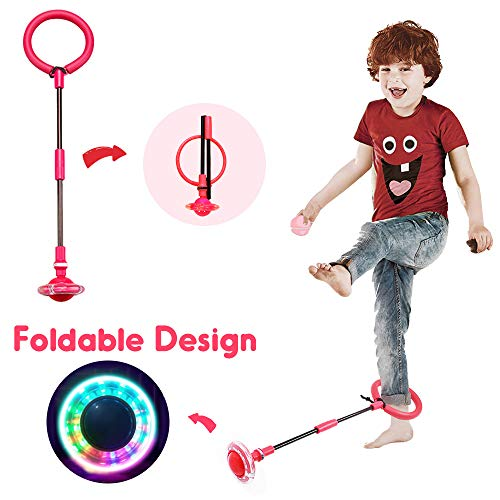 ONEZ Mihlapi Kids Foldable Ankle Skip Ball Flash Jump Colorful Sports Swing Ball, Fitness Jump Rope Fat Burning Game for Adults and Children (red)